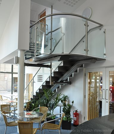 Stainless Steel & Curved Glass Staircase in a Church Hall