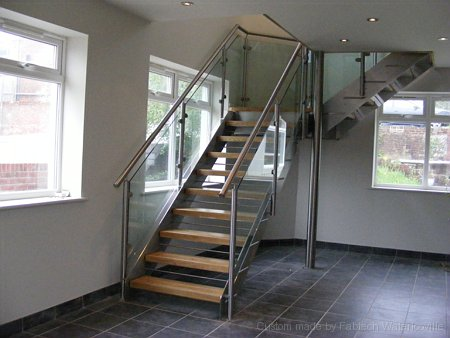 Stainless Steel, Glass & Hardwood Staircase