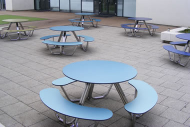 Outdoor picnic benches